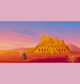 egypt desert with hatshepsut temple and camel vector image