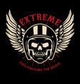 extreme winged skull on black background design vector image vector image