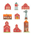 farm buildings and constructions set countryside vector image vector image