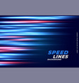 fast speed lines motion with glowing blue and red vector image vector image
