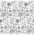floral pattern with outline flowers and herbs vector image vector image