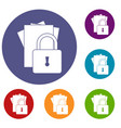 folders with padlock icons set vector image vector image