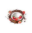 fresh coconut with strawberries in a chocolate vector image vector image