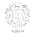Gentlemans vintage accessories doodle set vector image vector image