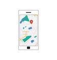 gps map interface on smarthone screen vector image vector image