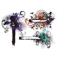 grunge floral frames set vector image vector image