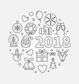 happy new year 2018 line vector image vector image