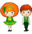Irish dancing kids in traditional costumes vector image