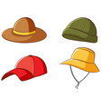 isolated set hats on white background vector image
