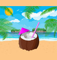 landscape of palm tree on beach cocktail vector image vector image