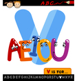 letter v with vowels cartoon vector image vector image