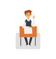 male student sitting at desk in classroom with vector image vector image