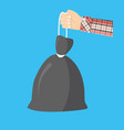 plastic garbage bag with rope in hand vector image