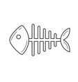 rotten fish skeleton line icon vector image vector image
