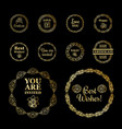 round gold borders or frames set on the black vector image vector image