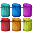 Six colorful bins vector image vector image