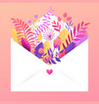spring floral bouquet flowers in envelope vector image vector image