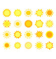 sun icons sunshine hot summer and sunrise vector image