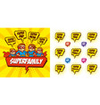 superhero family cartoon character bubble speech vector image vector image