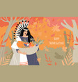 thanksgiving card with young native american vector image