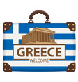 travel suitcase with flag greece and acropolis vector image vector image