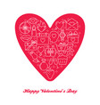 valentines day concept banner with love icons in vector image vector image