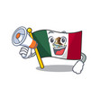 with megaphone flag mexico in cartoon shape vector image vector image