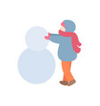 young person making snowman in warm clothes vector image vector image