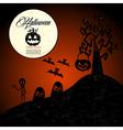 Halloween text full moon pumpkin spooky cemetery vector image