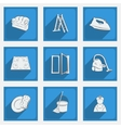 Fashionable flat icons with long shadows cleaning vector image