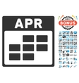 April Calendar Grid Flat Icon With Bonus vector image
