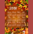 autumn maple leaf harvest calendar 2018 vector image vector image