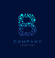 b letter logo science technology connected dots vector image