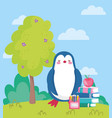 back to school penguin apple on books pencil vector image vector image
