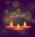 beautiful of burning diya for diwali festival vector image vector image