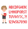blond secretary with book pixel abc font vector image vector image