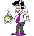 cartoon a happy business man looking at a vector image vector image