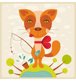 cat with fish vector image