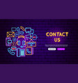 contact neon banner design vector image vector image