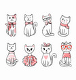 cute cats sit in row for your project vector image vector image
