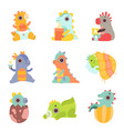 cute colorful little dinos set adorable newborn vector image vector image