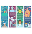 doctor banners of medicine and health care vector image vector image
