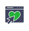 email webpage with heart and arrow cursor colored vector image