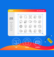 face recognition line icons set of faces vector image