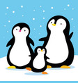 family of penguins under snow cartoon family vector image