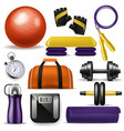 fitness equipment bodybuilding dumpbell vector image