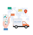 flat online delivery apps tracking shipping vector image vector image