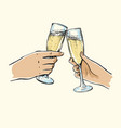 girl and guy holding glasses champagne vector image
