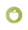 Green apple icon with hand drawn lines texture vector image