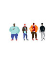 group mix race people standing together casual vector image